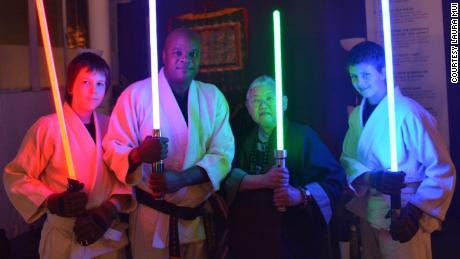 "John Ellis and Mushim Patricia Ikeda with students at a workshop based on ""Star Wars"" at the East Bay Meditation Center."