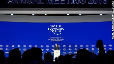 Britain's Prime Minister Theresa May addresses the Economic Forum (WEF) annual meeting on January 25, 2018 in Davos, eastern Switzerland. / AFP PHOTO / Fabrice COFFRINIFABRICE COFFRINI/AFP/Getty Images