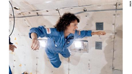 "Christa McAuliffe experiencing zero gravity on NASA's ""vomit comet"" as part of her astronaut training."