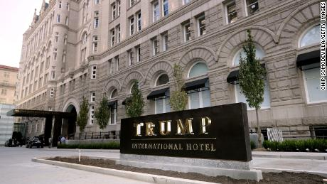 The Trump International Hotel on its first day of business September 12, 2016 in Washington, DC. The Trump Organization was granted a 60-year lease to the historic Old Post Office by the federal government before Trump announced his intent to run for president. The hotel has 263 luxury rooms, including the 6,300-square-foot 'Trump Townhouse' at $100,000 a night, with a five-night minimum.