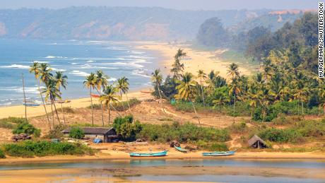 Paradise beach in the state of Maharashtra, India. Located 15 km from the North Goa. View from Redi fort.