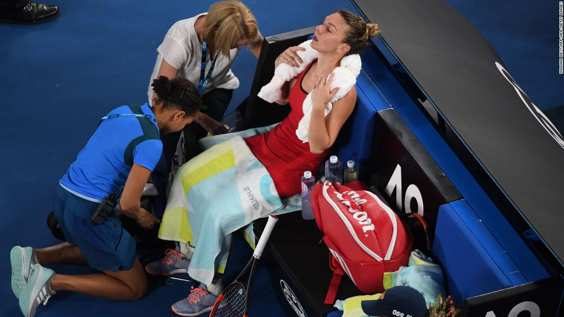 Halep needed a medical timeout in the second set but rebounded.