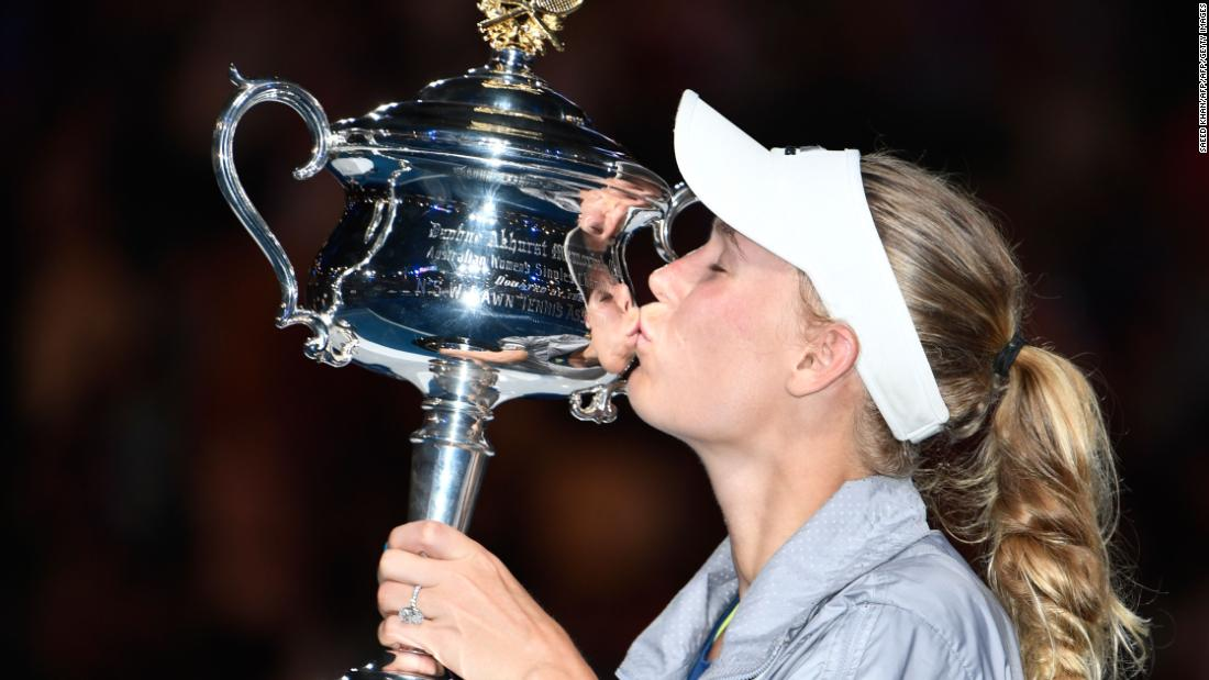 Caroline Wozniacki with the Australian Open trophy. <br />She won a dramatic final...