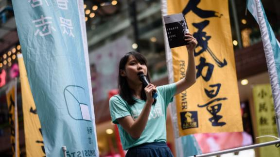 Pro-democracy candidate Agnes Chow was barred from standing in the recent elections.