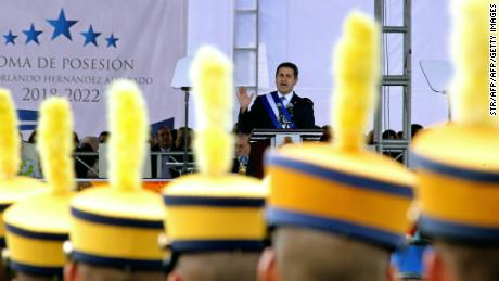Reelected President Juan Orlando Hernandez gives a speech during the inauguration ceremony at the Tiburcio Carias Andino national stadium, in Tegucigalpa, on January 27, 2018 Hernandez begins his second presidential term as the opposition vowed mass protests over claims he fraudulently won November elections. / AFP PHOTO / STR        (Photo credit should read STR/AFP/Getty Images)