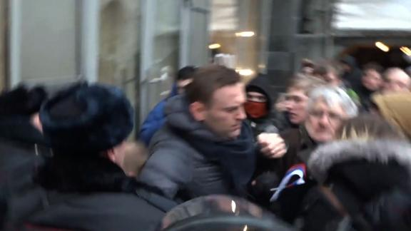 Alexei Navalny is arrested at a rally in January 2019.