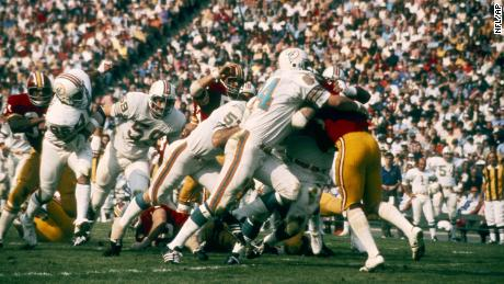 Miami Dolphins defense take down the Washington Redskins ball carrier in a 14-7 win over the Washington Redskins in Super Bowl VII on January 14, 1973 at Los Angeles Memorial Coliseum.   Super Bowl VII - Miami Dolphins vs Washington Redskins - January 14, 1973.