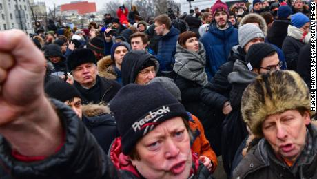 Around 1,000 protesters gathered in the Moscow area Sunday, police said.