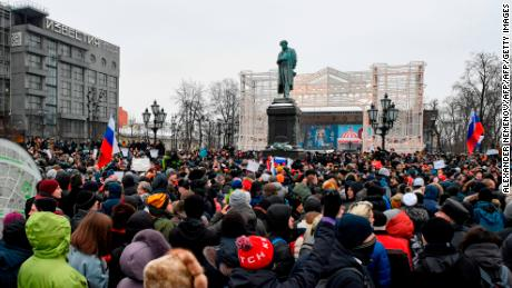 Hundreds of demonstrators fill Pushkinskaya Square in central Moscow.