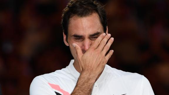 An emotional Federer wept during the trophy presentation.
