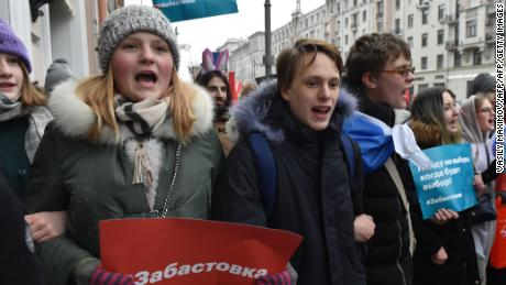 Protesters gather in Moscow on Sunday, January 28.