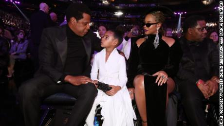 NEW YORK, NY - JANUARY 28:  Recording artist Jay-Z, Blue Ivy Carter and Beyonce attend the 60th Annual GRAMMY Awards at Madison Square Garden on January 28, 2018 in New York City.  (Photo by Christopher Polk/Getty Images for NARAS)