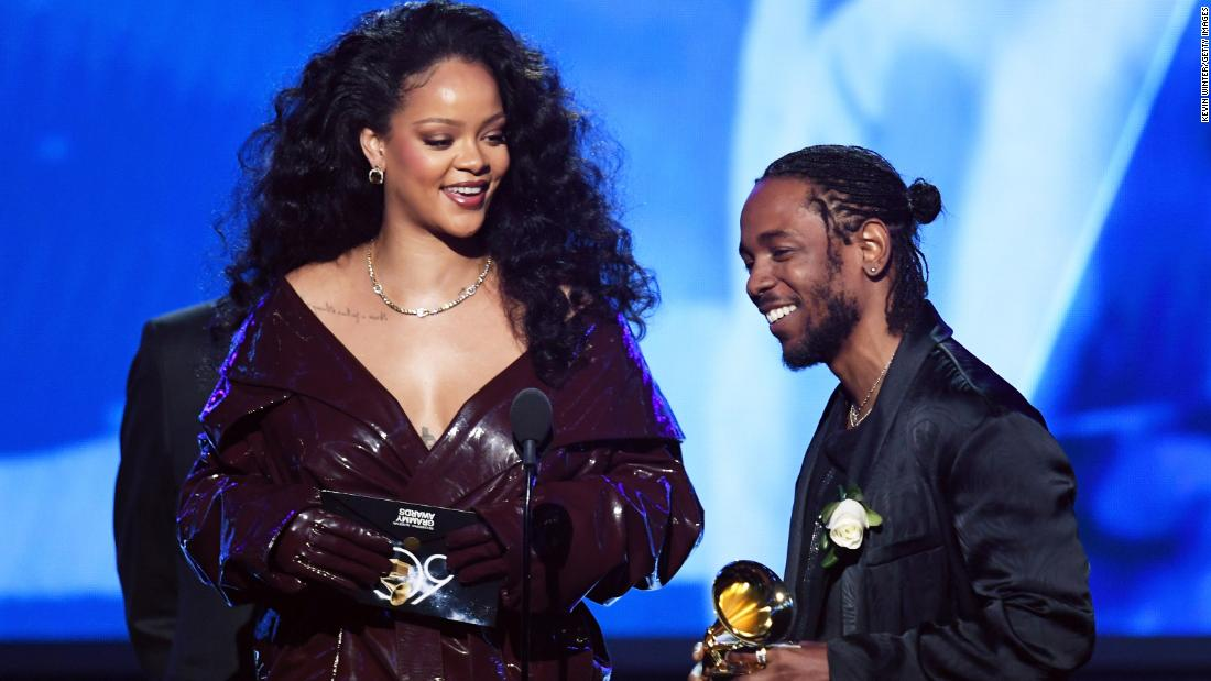 "Kendrick Lamar is joined by Rihanna as he accepts the first Grammy of the television broadcast. The two teamed up for ""Loyalty,"" which won the award for best rap/sung performance."