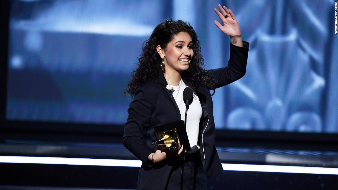 Alessia Cara accepts the Grammy for best new artist.
