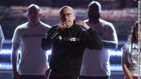 Logic performs onstage during the 2018 Grammy Awards.