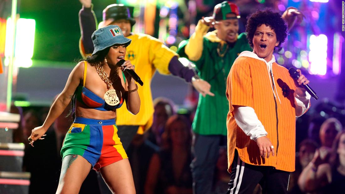 "Cardi B and Bruno Mars perform ""Finesse."""