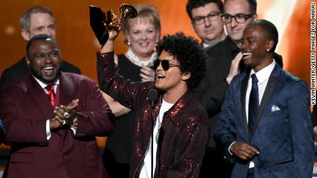 Bruno Mars and politics play big at Grammys