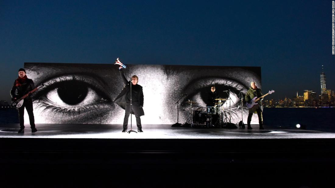 "U2 performs ""Get Out of Your Own Way"" on a barge near the Statue of Liberty."