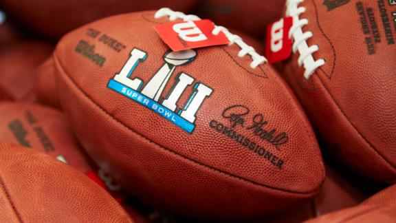 Official balls for the NFL Super Bowl LII football game are seen at the Wilson Sporting Goods Co. in Ada, Ohio, Monday, Jan. 22, 2018. The New England Patriots will play the Philadelphia Eagles in the Super Bowl on Feb. 4, in Minneapolis, Minn. (AP Photo/Rick Osentoski)