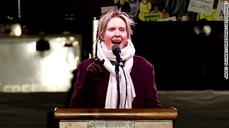 Cynthia Nixon speaks at We Stand United NYC Rally outside Trump International Hotel & Tower on January 19, 2017 in New York City.  (Photo by James Devaney/WireImage)