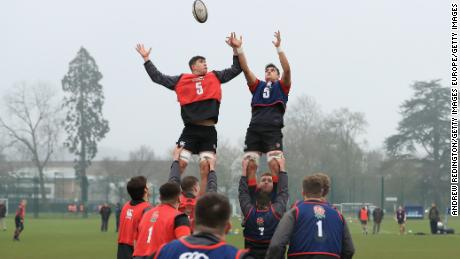 England's forward go through a lineout routine
