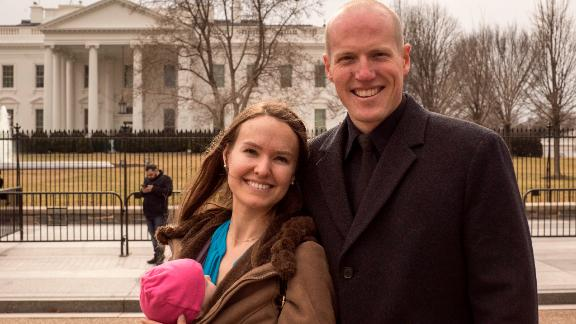 Rebecca and Officer Ryan Holets and their new baby Hope visited the White House on Monday.