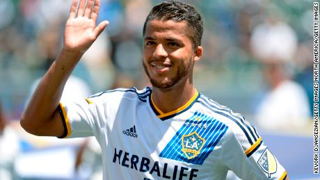 CARSON CA - AUGUST 9: Giovani Dos Santos #10 of the Los Angeles Galaxy acknowledges cheers from fans as he makes his MLS debut before the start of soccer match between Los Angeles Galaxy and Seattle Sounders at StubHub Center August 9, 2015, in Carson, California. (Photo by Kevork Djansezian/Getty Images)