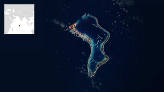 A heatmap from Strava of Diego Garcia, the atoll in the Indian Ocean that houses a US military facility.