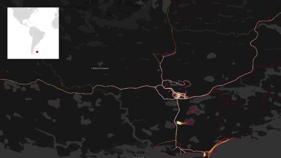 A Strava heatmap showing the Falkland Islands and RAF Mount Pleasant.
