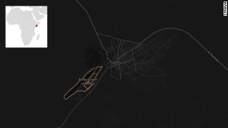 A Strava heatmap of Baidoa Airport in Somalia.