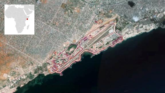 The Strava heatmap showing the Mogadishu airport.