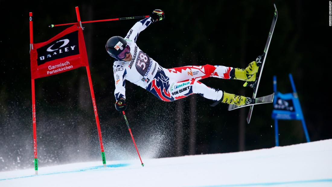 Czech skier Krystof Kryzl crashes during a giant slalom race in Garmisch-Partenkirchen, Germany, on Sunday, January 28. Kryzl injured his knee in the crash and will miss out on the Olympics next month.