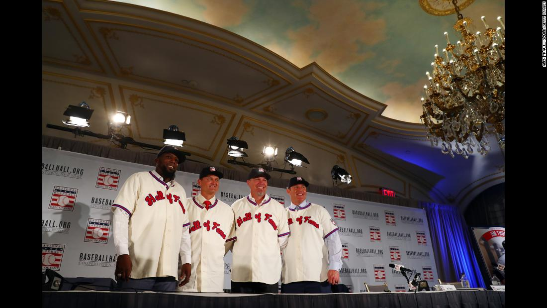 "From left, Vladimir Guerrero, Trevor Hoffman, Chipper Jones and Jim Thome pose for a photo after they were introduced as <a href=""http://bleacherreport.com/articles/2755820-2018-mlb-hall-of-fame-results-class-list-of-inductees-voting-results"" target=""_blank"">the newest class of the Baseball Hall of Fame</a> on Thursday, January 25."