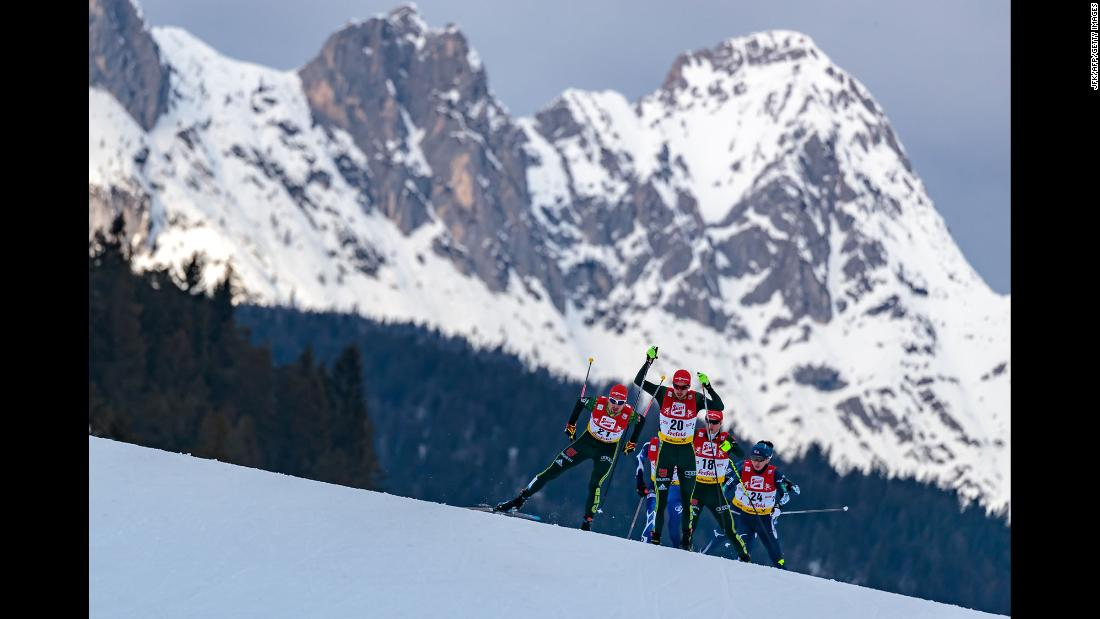 Athletes ski in Seefeld, Austria, during a Nordic-combined competition on Sunday, January 28.