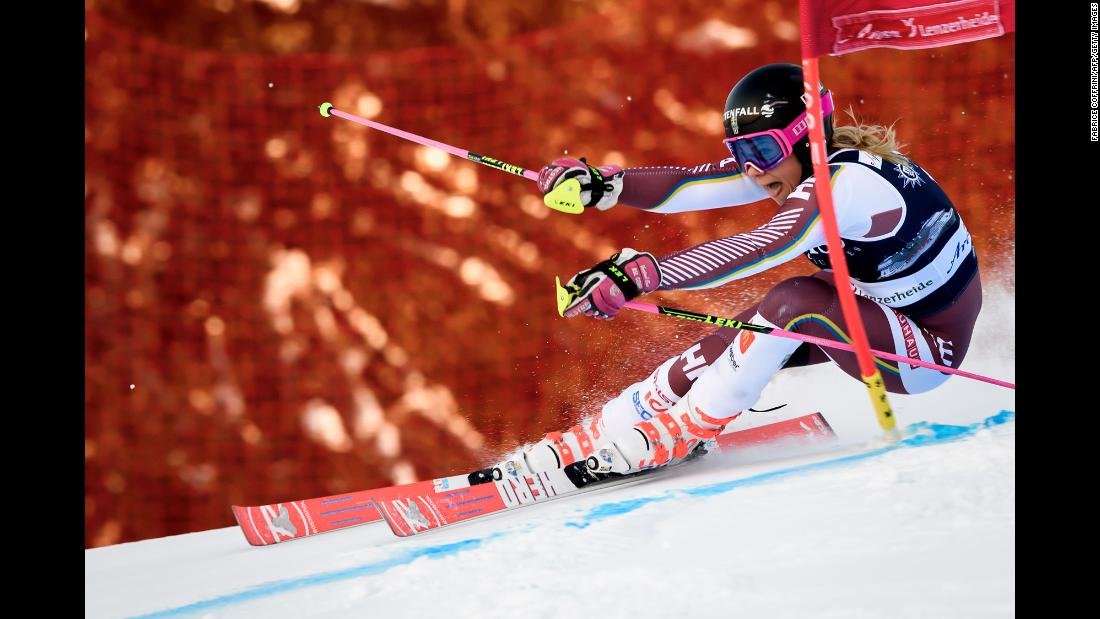 Swedish skier Frida Hansdotter clears a gate during a World Cup race in Lenzerheide, Switzerland, on Saturday, January 27.