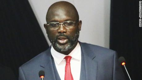 Liberian President George Weah gives his State of the Republic address in Monrovia on Monday.