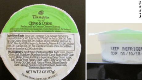 Panera Bread recalled cream cheese products with an expiration date on or before the second of April 2018.