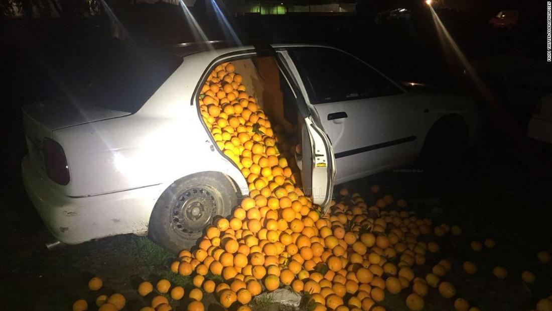 "Police in Seville, Spain, came across two vehicles <a href=""http://www.cnn.com/2018/01/30/europe/spain-orange-in-cars-trnd/index.html"" target=""_blank"">packed with oranges</a> last week. The drivers claimed they were ""coming from very far away and had been stopping and collecting oranges along the way,"" <a href=""http://www.europapress.es/andalucia/sevilla-00357/noticia-denunciadas-cinco-personas-presunto-robo-4000-kilos-naranjas-nave-carmona-sevilla-20180126153807.html"" target=""_blank"">Europa Press reported.</a> Police said they later learned the oranges were stolen from a shipment."