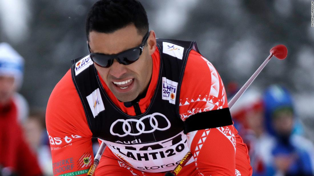 Tonga's Pita Taufatofua competes in the men's cross country sprint qualification at the 2017 Nordic Skiing World Championships in Lahti, Finland in February 2017.