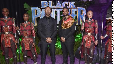 Michael B. Jordan (left) and writer/director Ryan Coogler at the 'Black Panther' world premiere.