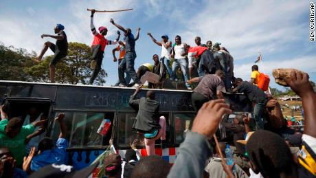 "Odinga supporters gather for his mock ""swearing-in"" ceremony in Nairobi on Tuesday."