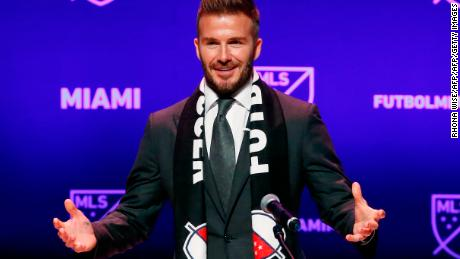 Former soccer player David Beckham addresses the media during an event to announce his Major League Soccer franchise in Miami, Florida on January 29, 2018.  English football superstar David Beckham was officially awarded a Major League Soccer franchise in Miami, but there was no immediate word on when the long-awaited team will kick off. The Miami expansion team is widely expected to join the league in 2020 but there was no official word on a start date on Monday. / AFP PHOTO / RHONA WISE        (Photo credit should read RHONA WISE/AFP/Getty Images)