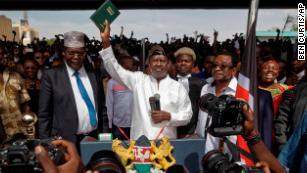 Kenya opposition leader Raila Odinga swears himself in as 'president'