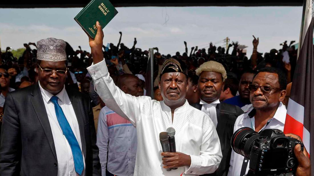 Kenya opposition leader Raila Odinga swears himself in as 'president'