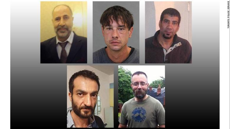 The five victims have been identified as, from top left, Majeed Kayhan, 58; Dean Lisowick, 47; Soroush Mahmudi, 50; Selim Esen, 44 and Andrew Kinsman, 49, according to Toronto Police Service.