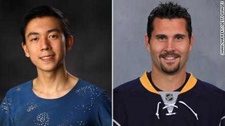 On the left, Vincent Zhou, 17, is this year's youngest US Olympian and Brian Gionta, 39, is the oldest.