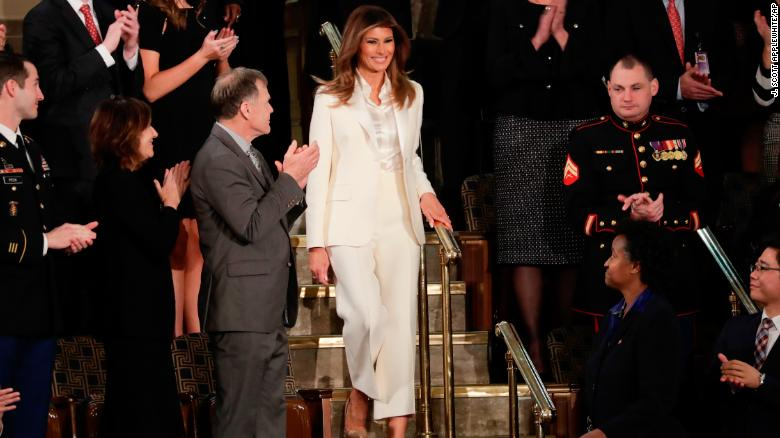 First lady Melania Trump arrives before the State of the Union address to a joint session of Congress on Capitol Hill in Washington, Tuesday, Jan. 30, 2018. (AP Photo/J. Scott Applewhite)