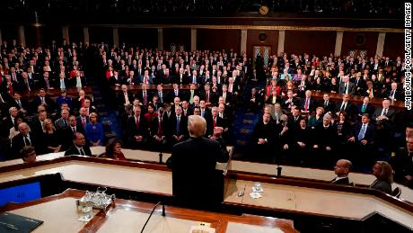 WASHINGTON, DC - JANUARY 30:  U.S. President Donald Trump delivers his State of the Union address to a joint session of the U.S. Congress on Capitol Hill January 30, 2018 in Washington, DC.  DC. This is the first State of the Union address for the president and his second joint-session address to Congress.   (Photo by Jim Bourg-Pool/Getty Images)