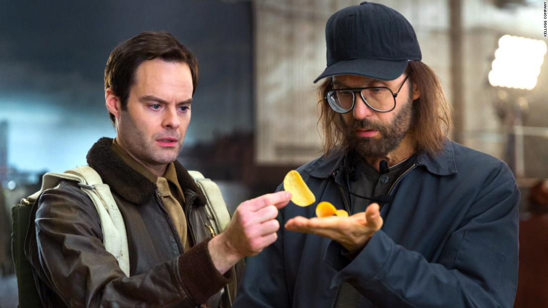 "<a href=""https://www.youtube.com/watch?v=gk0nVMU76bc"" target=""_blank"">Bill Hader stars in an ad for Pringles</a>"