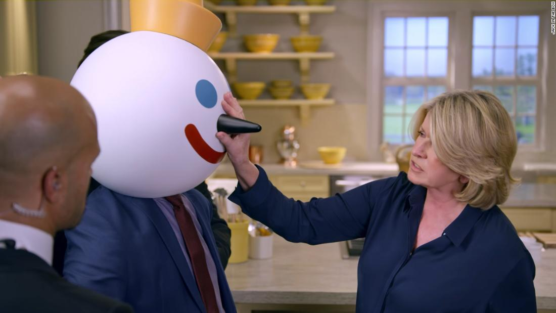 "<a href=""https://www.youtube.com/watch?v=e78L9t2sc5c"" target=""_blank"">Martha Stewart goes up against Jack In the Box</a>"